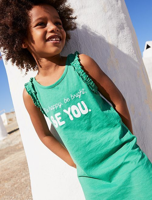 Vestido 'Be happy, be bright, be you'                                                     VERDE