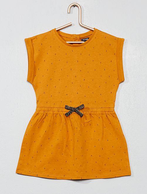7888f10ba Vestido bordado a rayas Bebé niña - estampado amarillo - Kiabi - 6,00€