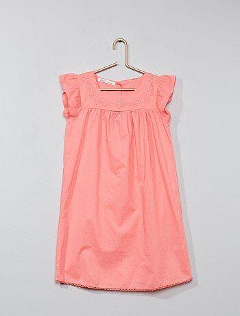 Vestido bordado de algodón puro - Kiabi