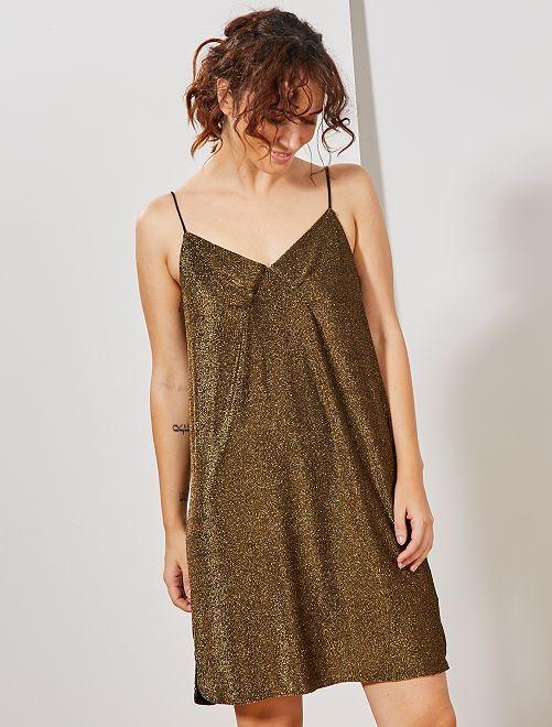 Vestido brillante de tirantes finos                             oro