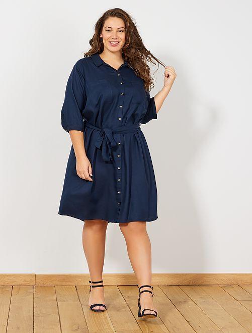 Vestido camisero con cinturón                             azul Tallas grandes mujer