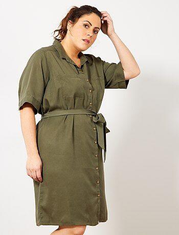 5d10ff7d14 Tallas grandes mujer - Vestido camisero de lyocell - Kiabi