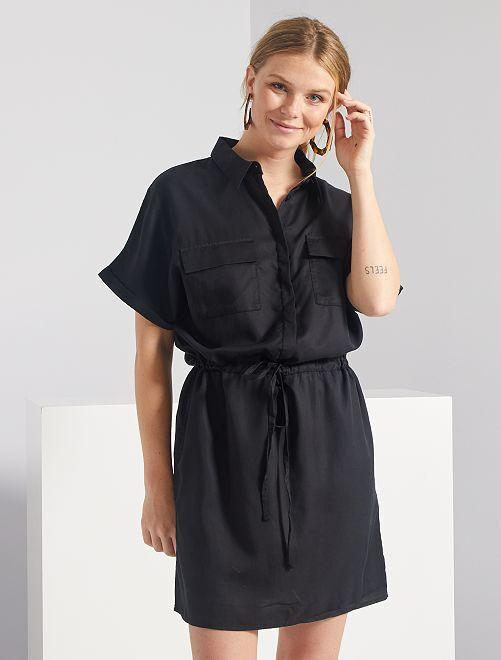 Vestido camisero de lyocell                                                                                         negro