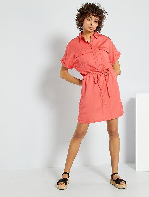 Vestido camisero de lyocell                             rosa naranja