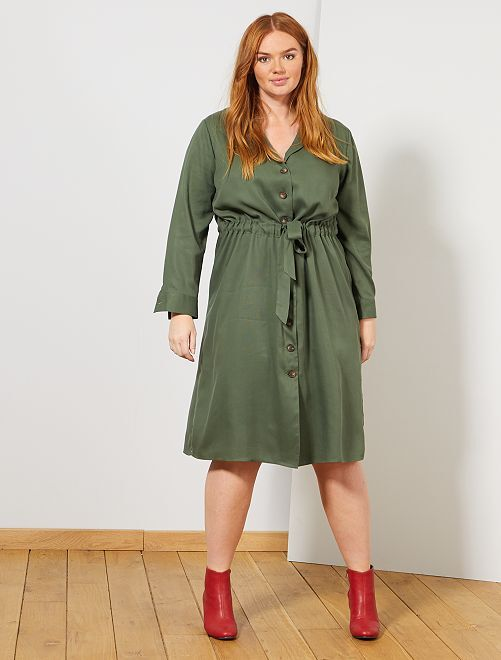 Vestido camisero de lyocell                             verde tomillo