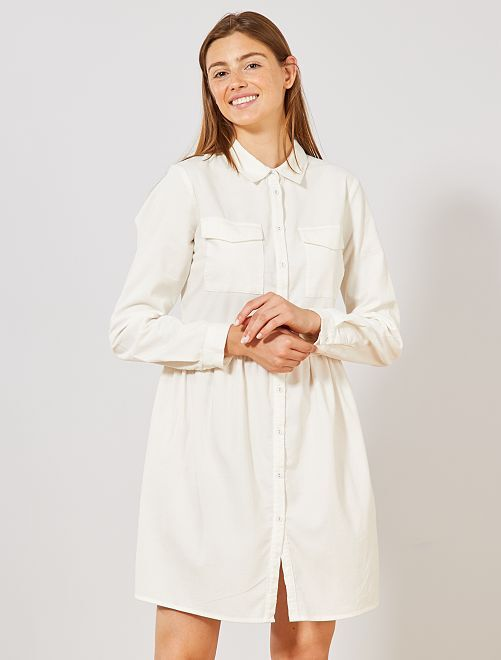 Vestido camisero de pana                     blanco nieve