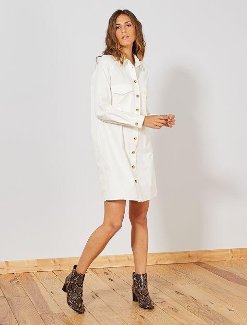 Vestido camisero de terciopelo                                                     blanco nieve