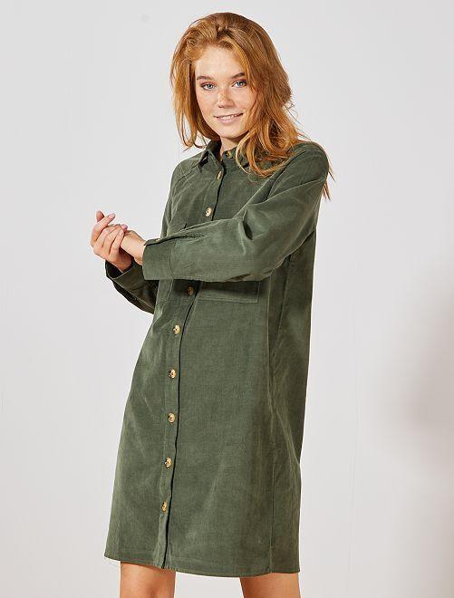 Vestido camisero de terciopelo                                                                 verde tomillo