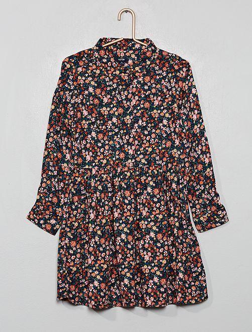 Vestido camisero estampado                                                                 AZUL