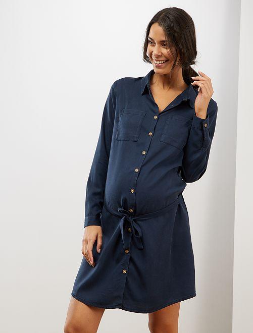 Vestido camisero premamá de lyocell                             AZUL