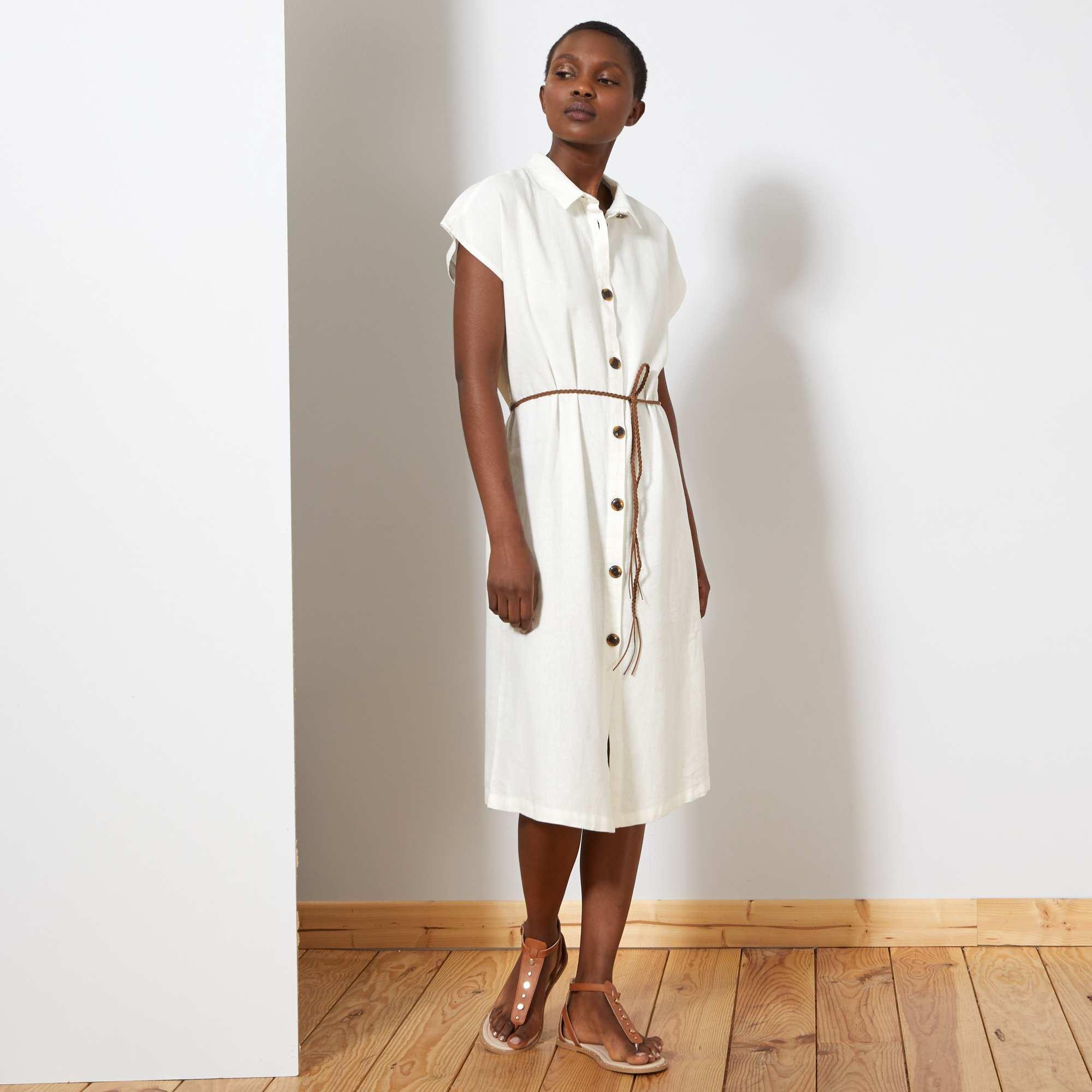 5dc9f6331 Vestido camisero principalmente de lino  JDY  Mujer talla 34 a 48 ...