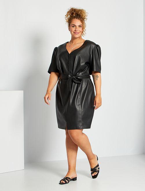 Vestido camisero sintético                                         negro
