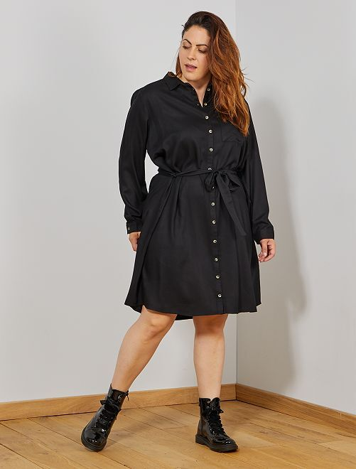 Vestido camisero vaporoso                                                     negro