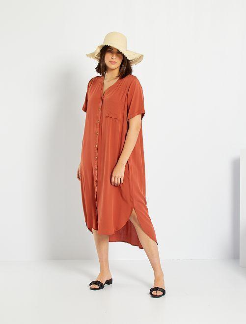 Vestido camisero vaporoso                                         ROJO
