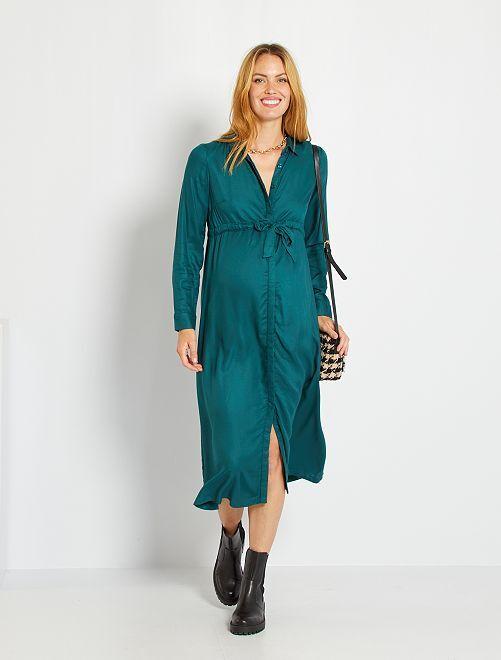 Vestido camisero                                                                 verde profundo