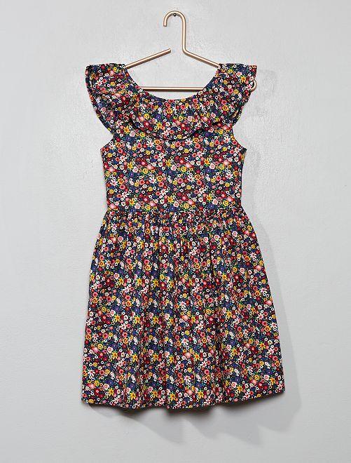 Vestido colorido de popelina                                         AZUL