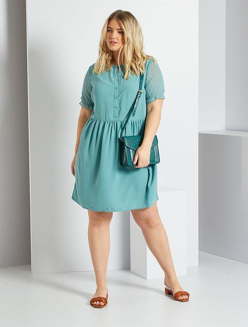 Vestido con acabado de plumeti                                                     azul