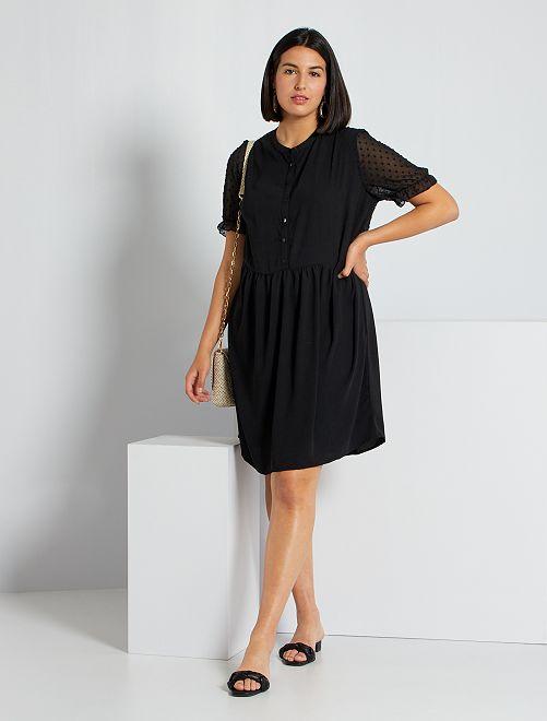 Vestido con acabado de plumeti                                         negro