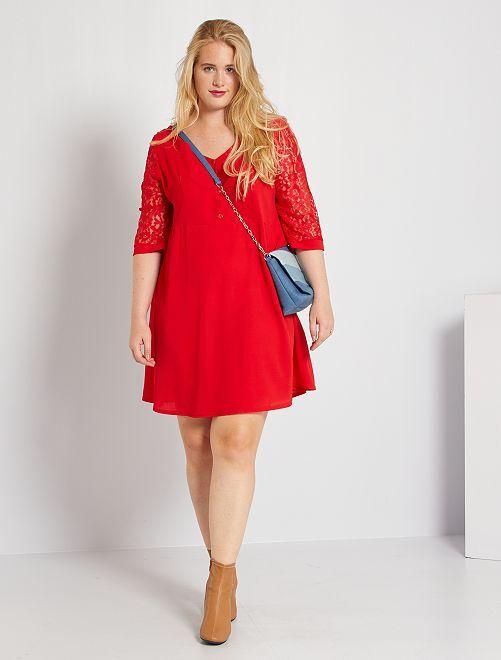 Vestido con bordado                                         rojo
