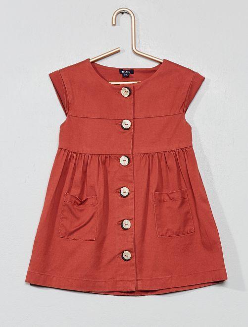 Vestido con botones de tela vaquera vaporosa                                         ROSA