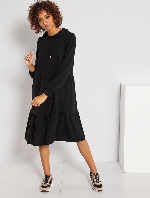 Vestido con capucha y volantes 'JDY'                                                     negro