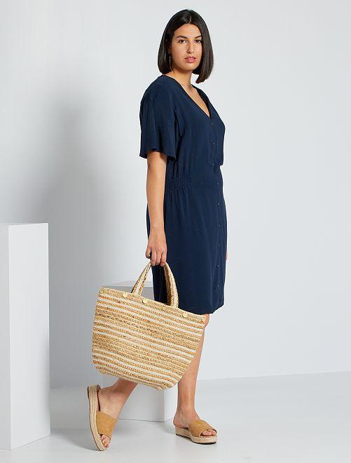 Vestido con cintura elástica                                                                 azul