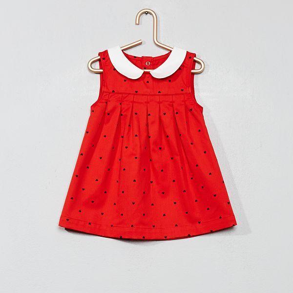 Vestido Con Cuello Bebé Corazón Bebé Niña Estampado Rojo