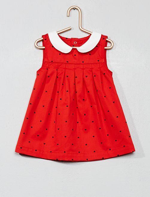 Vestido con cuello bebé 'corazón'                                         estampado rojo Bebé niña