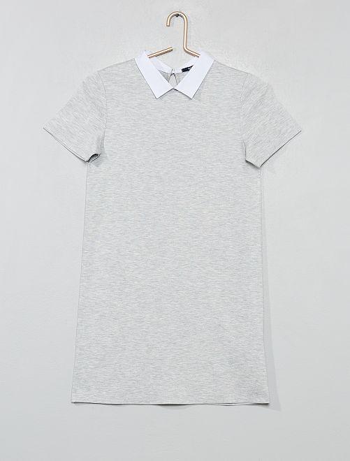 Vestido con cuello de camisa                             GRIS Joven niña