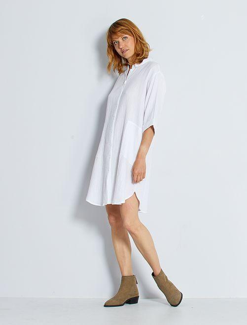 Vestido con cuello mao 'JDY'                                                     blanco