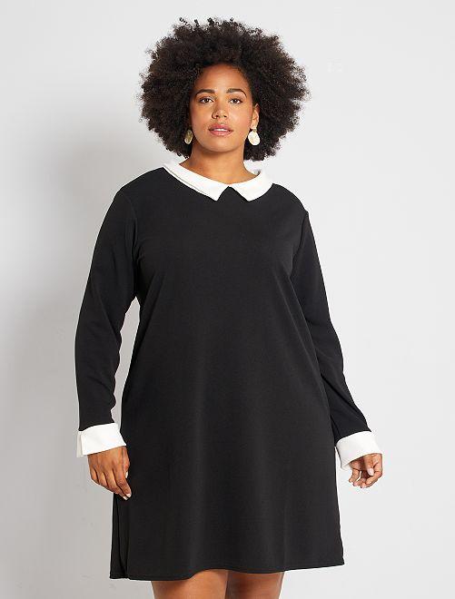 Vestido con cuello y mangas en contraste                             negro/crudo Tallas grandes mujer