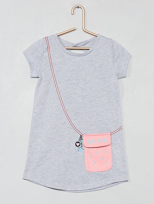 Vestido con efecto bolso                             gris Chica