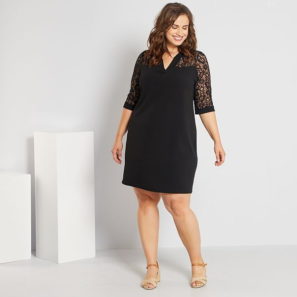 Vestido Con Encaje Tallas Grandes Mujer Negro Kiabi 14 00