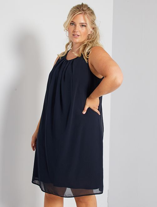 Vestido con gasa                             azul marino