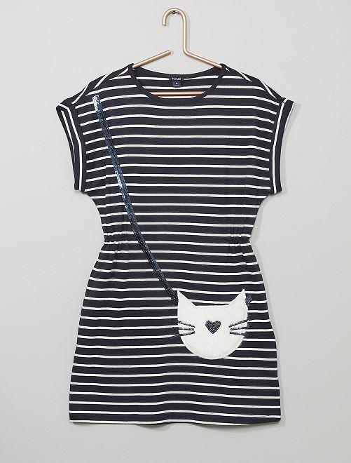Vestido con gato de pelo sintético                                 AZUL Chica