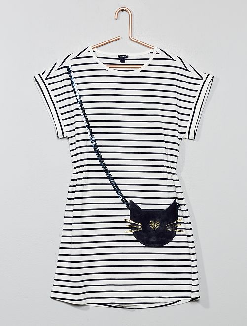 Vestido con gato de pelo sintético                             BEIGE Chica
