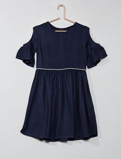 Vestido con hombros calados                                                                 azul Chica