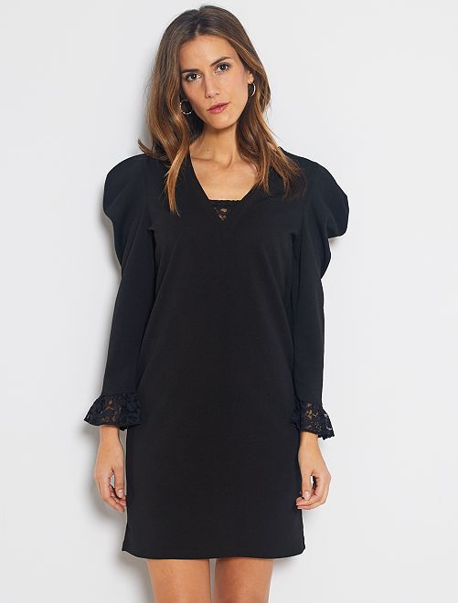Vestido con manga presunto                             negro