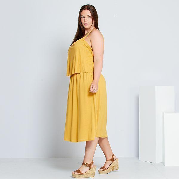 Vestido Con Volante Tallas Grandes Mujer Amarillo Kiabi 18 00