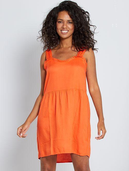 Vestido con volante en el escote                                                                 naranja