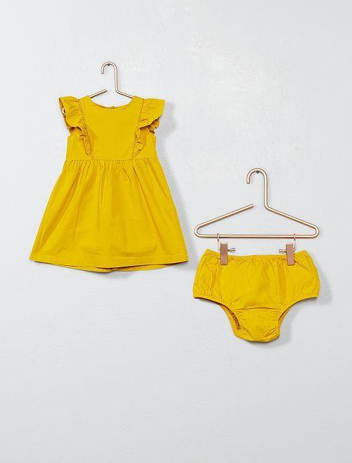 Vestido con volantes y braguita                                         amarillo curry Bebé niña