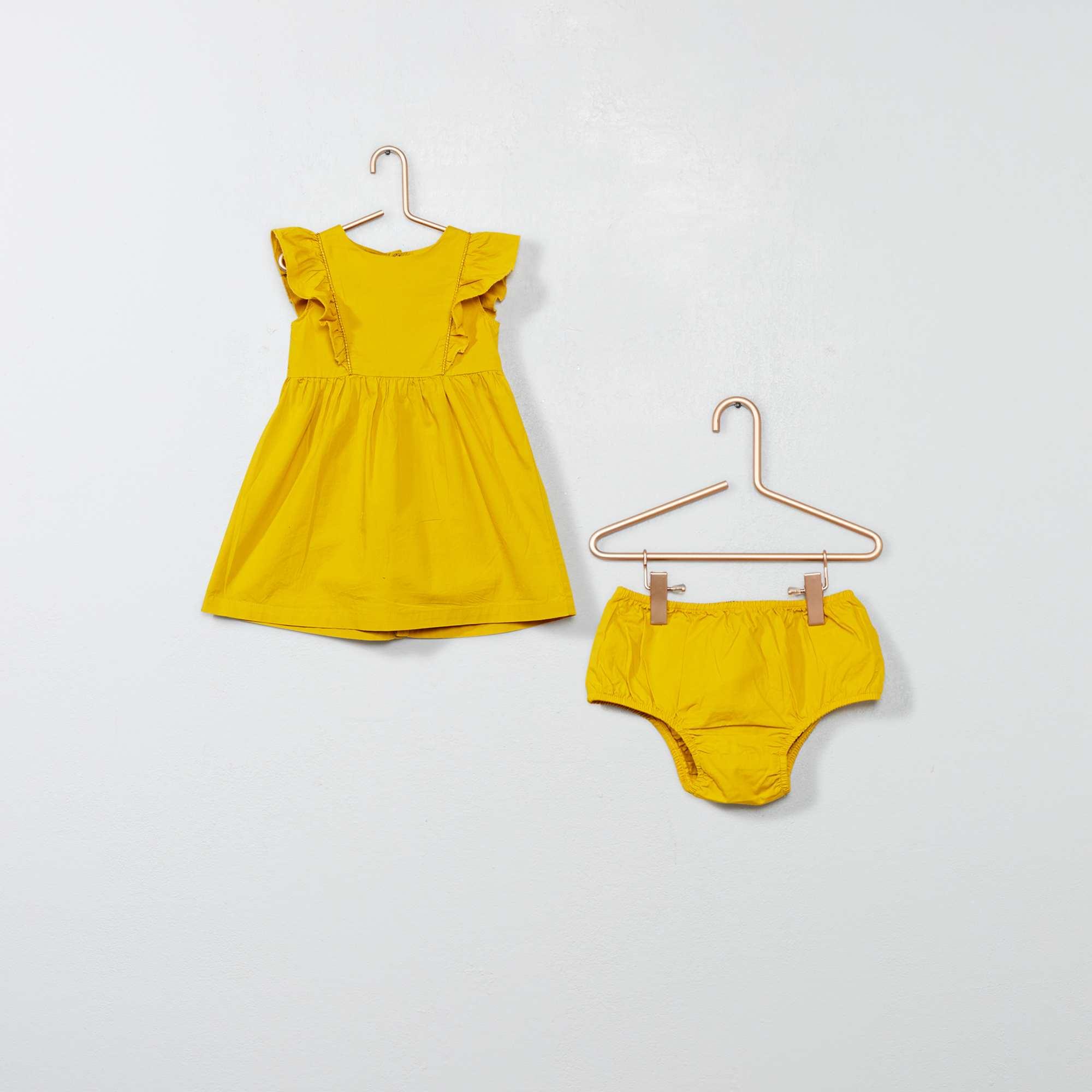 d66b699f7 Vestido con volantes y braguita amarillo curry Bebé niña. Loading zoom