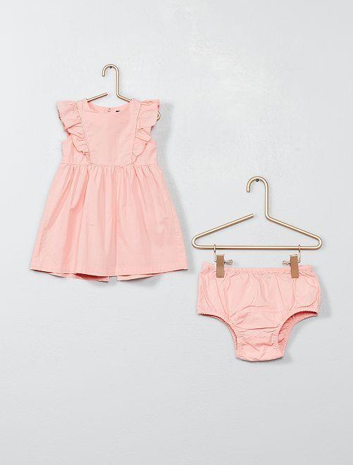 Vestido con volantes y braguita                                 rosa polvo Bebé niña