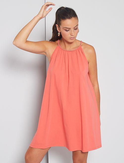 Vestido corto con cuello americano de fantasía                             rosa naranja
