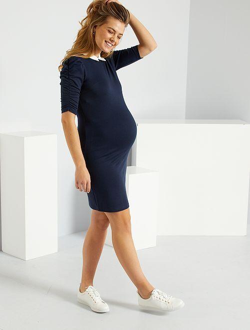 Vestido corto con cuello bebé                                         AZUL