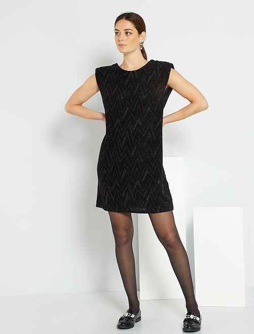 Vestido corto con escote en la parte trasera                                         negro