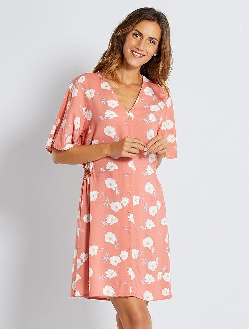 Vestido corto con estampado floral                                                     ROSA