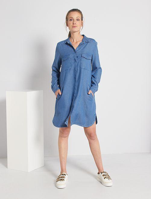 Vestido corto con forma de camisa                                                                 AZUL