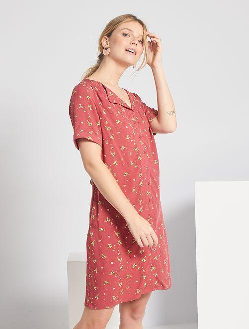 Vestido corto con forma de camisa                                                                     ROSA