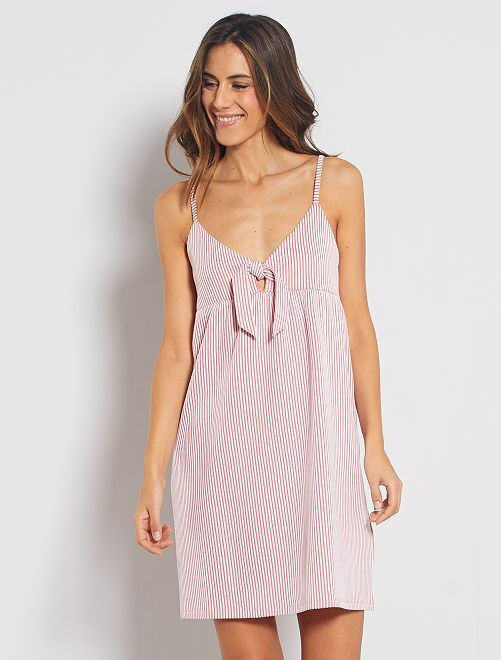 Vestido corto con lazo en el pecho                                                     rosa naranja